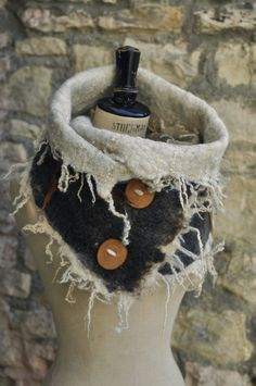 Hand felted wool circle scarf button up cowl 'The BEASTIE' - natural brown white - dramatic mythical furry fur beast creature MADE to ORDER