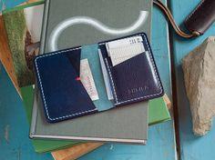 Navy Blue Leather Bifold Wallet Italian Veg Tan