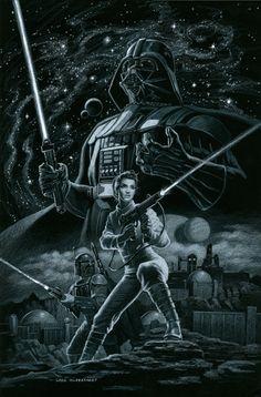 Star Wars - Marvel Cover #2 - Black Board, Greg Hildebrandt Comic Art, Original Paintings, Star Wars, Marvel, Stars, Cover, Fictional Characters, Black, Black People