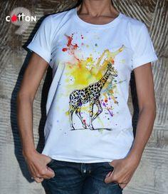 Giraffe  Tshirt / Animal Print Tshirt / Casual Top by Cotton9