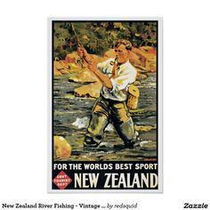 New Zealand River Fishing - Vintage Travel Poster