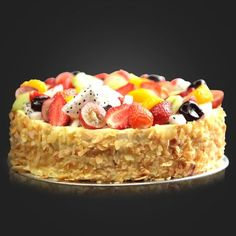 Vanilla Fruits : Smooth and delicious vanilla cream, in between layers of vanilla sponge, topped with assortments of freshly picked fruits, resulting in delightful blend of tropical flavors