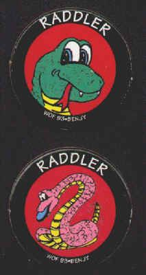 RADDLER POGS (Worlds of Fun, BENJY, 1993): Smooth surface, Lot of 2 different, Snakes. Both for 60¢