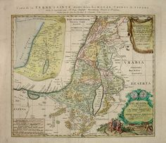 This is a map of the Holy Land divided into the areas of the 12 tribes of Israel. Beneath the cartouche is an illustration of two spies of Moses returning to the tent camp of the Israelites bearing an oversized cluster of grapes, representing the fruits of the Promised Land.  Hand-colored engraving, published by the Homann Heirs, Nuremberg: c. 1750.