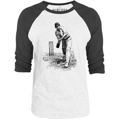 Mintage English Cricketer 3/4-Sleeve Raglan Baseball T-Shirt (White / Concrete)