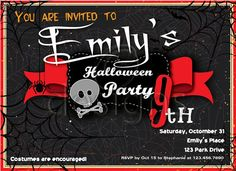 Halloween Digital Party Invitation No 4 by Odesigns on Etsy, €9.00