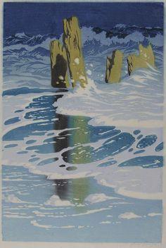 """✨  Oscar Droege (1898-1983) - Schäumendes Meer trifft auf hölzerne Buhnen, Farb-Holzschnitt, signiert, ca. 45 x 30cm ::: Nicht abgebildet in dem Museumskatalog """"Oscar Droege, Landschaft, Witz und Reiselust"""" ::: Colour Woodcut"""