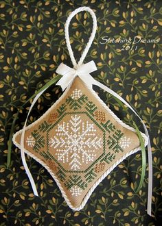 snow flake cross stitch ornament