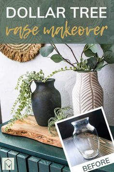 Are you ready to learn how to upcycle clear glass Dollar Tree vases? Then check out these 2 methods that only require just a few materials! Dollar Tree Vases, Dollar Tree Decor, Dollar Tree Crafts, Dollar Tree Finds, Diy Painted Vases, Painted Pots, Old Vases, Vase Crafts, Diy Art Projects
