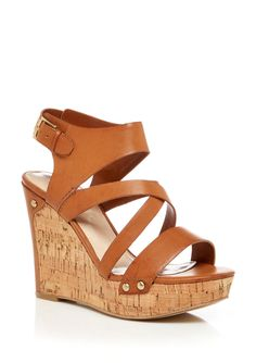 Guess Hylie Wedge Sandals 8.5 Brown