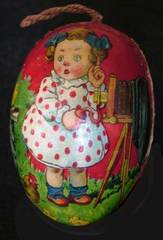 Paper Mache Easter Egg - Little Girl with View Camera by