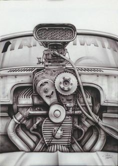 """Well done engine rendering based on a photograph you can see in my """"artful engine design"""" album. Arte Com Grey's Anatomy, Cool Car Drawings, Mechanic Tattoo, Car Tattoos, Garage Art, Airbrush Art, Lowbrow Art, Car Sketch, Automotive Art"""