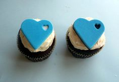 Blue White and Black Hearts Fondant Cupcake by allsugarheart