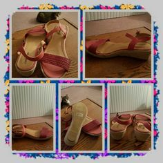 NWOB Coral Sandals Size 10 M  NWOB coral colored sandals with ankle strap and a small wedge heel size 10 medium from woman within and the brand is comfortview. These are in Excellent New Condition. comfortview Shoes Espadrilles