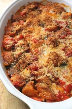 Summer scalloped tomatoes with croutons. Use your home canned diced tomatoes in this delicious meal creation Side Dish Recipes, Vegetable Recipes, Vegetarian Recipes, Dinner Recipes, Cooking Recipes, Buffet Recipes, Gourmet Cooking, Tomato Dishes, Tomato Pie