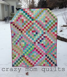 crazy mom quilts: Finished scrappy trip around the world quilt