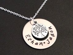 Family Tree Hand Stamped Necklace Stainless Steel by Ashijewelers