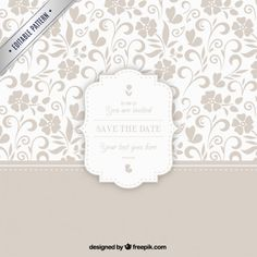 Ornamental pattern with wedding badge Free Vector