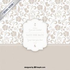 Teste padrão decorativo com emblema do casamento Vetor grátis