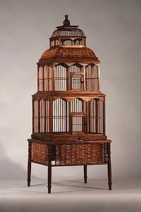 Wooden Two Tier Birdcage & Stand.