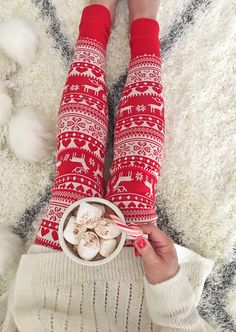 Christmas leggings and hot cocoa