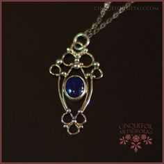 Cristiana Pendant - Sterling Silver Scrollwork with Lapis Lazuli by Cinquefoilmetalworks http://cinquefoilmetals.com
