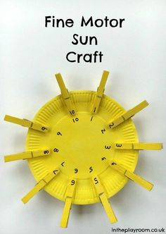 Fine Motor Sun Craft to work on Number Matching - In The Playroom Math Activities For Kids, Number Activities, Weather Activities, Motor Activities, Preschool Activities, Space Preschool, Preschool Weather, Weather Science, Weather Unit