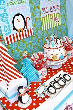 Winter Candyland Penguin Birthday Party - Kara's Party Ideas - The Place for All Things Party Penguin Birthday, Penguin Party, Winter Birthday Parties, Birthday Party Themes, Birthday Ideas, 4th Birthday, Candyland, Anniversaire Candy Land, Winter Wonderland Birthday