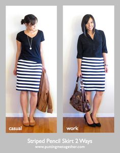 Putting Me Together: Two Ways to Wear a Striped Pencil Skirt