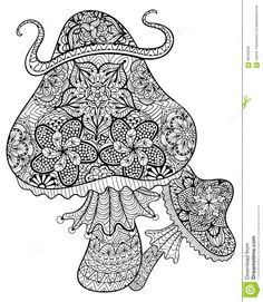 Hand Drawn Magic Mushrooms  For Adult Anti Stress Coloring Page - Download From Over 37 Million High Quality Stock Photos, Images, Vectors. Sign up for FREE today. Image: 58750595