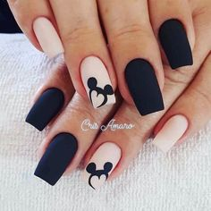 Uñas Disney Mickey Mouse – You are in the right place about nail art matte Here we offer you the most beautiful pictures about the nail art animal you are looking for. When you examine the Uñas Disney Mickey Mouse – part of the picture you can … Disney Nail Designs, Black Nail Designs, Acrylic Nail Designs, Nail Art Designs, Nails Design, Salon Design, Stylish Nails, Trendy Nails, Cute Nails