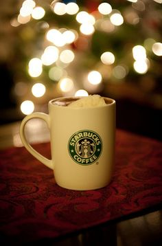 Starbucks - and I like Christmas lights and mugs, so this picture is a winner all around.