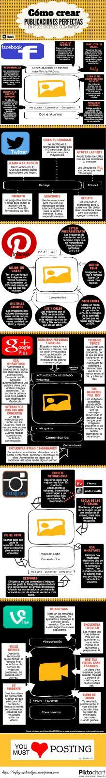 Infografía: Como crear una publicación perfecta en redes sociales #RedesSocialesPanama #MarketingTips