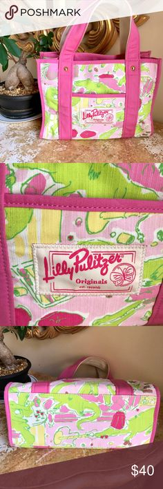Lilly Pulitzer Originals Pink Green Alligator Bag Like new, excellent condition, no flaws. Pink, yellow and green alligator print, zippered closure, outside and inside pockets, solid pink straps. So cute for Spring and Summer! Lilly Pulitzer Bags