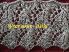 Wzór  ażurowy listki 003*Robótki  na drutach *Wzory *Dzierganie dla pocz...