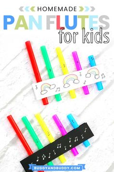 Create homemade pan flutes with straws in this science of sound activity and craft for kids. This STEAM / STEM activity also comes with a free printable where kids can record their own music. Preschool Science Activities, Creative Activities For Kids, Craft Projects For Kids, Science For Kids, Music Activities For Kids, Science Ideas, Creative Play, Life Science, Science Experiments
