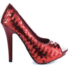 Explode with fashion in this fun and frisky pump from Dereon. TNT features a red upper covered in a flashy sequin detail. This peep toe style has a 1 inch plat…