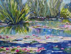 Having just come back from a visit to France, I painted this view of Monet's lily pond from the bridge. What a thrill to visit his home and gardens. Pond Drawing, Artist Monet, Pond Painting, Duck Art, Lotus Pond, Monet Paintings, Lily Pond, Drawing Reference Poses, Love Drawings