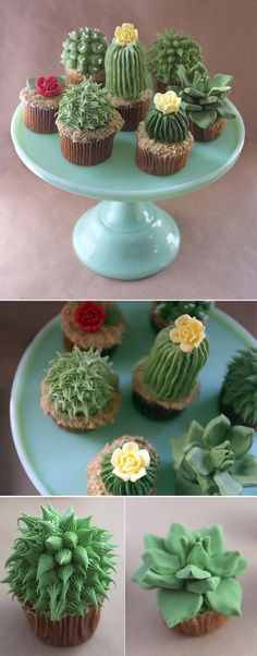 Tutorial: Succulent Cupcakes.  I took inspiration from a recent gardening project to make a variety of house plant cupcakes. And it resulted in a whole bunch of cacti cupcake cuteness! Check out a tutorial for these delectable edible house plants.