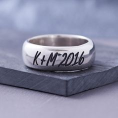 Men's Silver Anniversary Personalised Ring - a chunky sterling silver ring that can be engraved with initials and a special date for an original, meaningful gift for the special man in your life. An ideal gift to mark a birthday or anniversary
