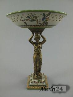 Sehr schöne Porzellan/Messing Schale mit einer Frauen Figur