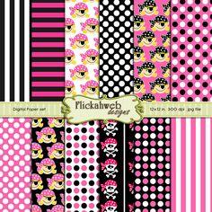chica digital pirata calaveras rosa blanco y negro para imprimir papel comercial utilice el Bloc de notas