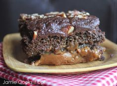 Cake Mix Turtle Cake - Just try and resist this layered gooey caramel chocolate cake. We dare you...
