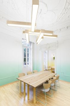 timber boxed light fixtures.  ombre walls