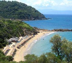 Small Banana beach ~ Skiathos Island (Sporades), Greece - Love this beach Mykonos Greece, Athens Greece, Crete Greece, Banana Beach Skiathos, Skiathos Beaches, Skiathos Island, Best Beaches In Europe, Places In Greece, Greek Isles