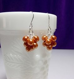 Orange Pearl Small Cluster Earrings, Halloween Autumn Fall Mom Sister Bridesmaid Christmas Jewelry Gift, Cocktail