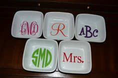 What is better than having a dish with your new initials to put your new ring???  Monogrammed Ring/Jewelry Dish by southernaccentdesign on Etsy, $12.00.