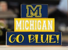 University of Michigan Go Blue - Trio Wood Blocks Stack- Maize/Blue - Home Decor/Gift - Michigan - Wooden Blocks on Etsy, $15.00