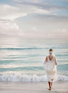 Rosemary Beach bridal portrait. Lace bodice. Photo: Leslee Mitchell.