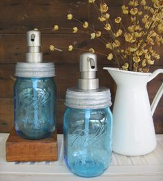 Mason jar glass soap dispenser
